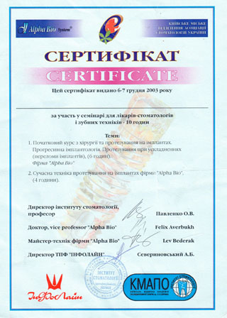 Certificates of Dentistry and Implantology of dentist Lubomir Prokopyuk
